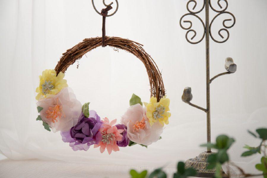 染め花のリース
