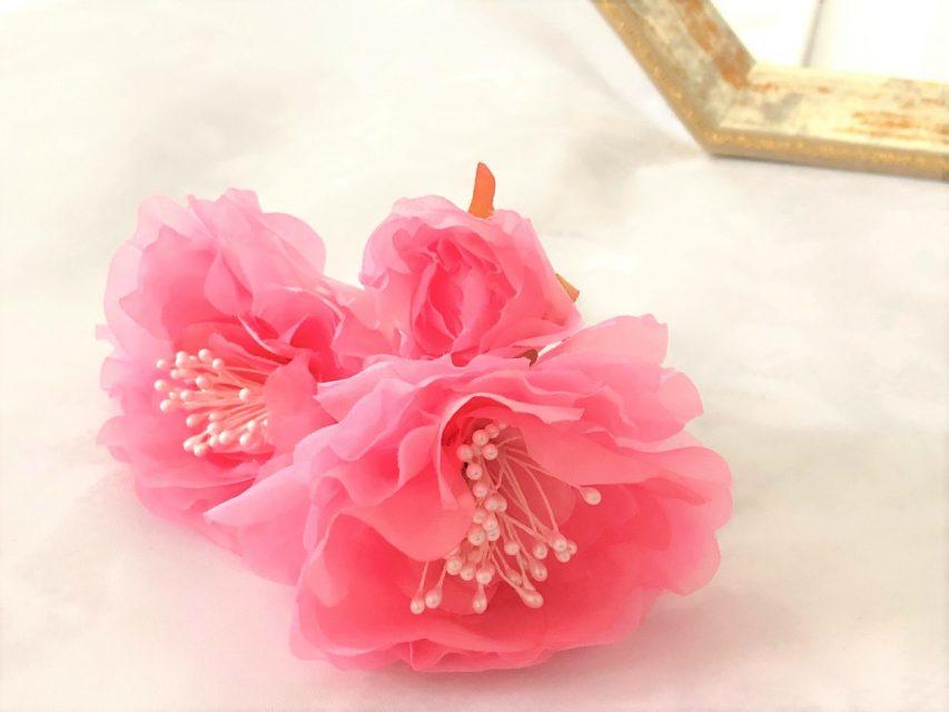 染め花のウェディングヘッドドレス (Iピン9本セット)