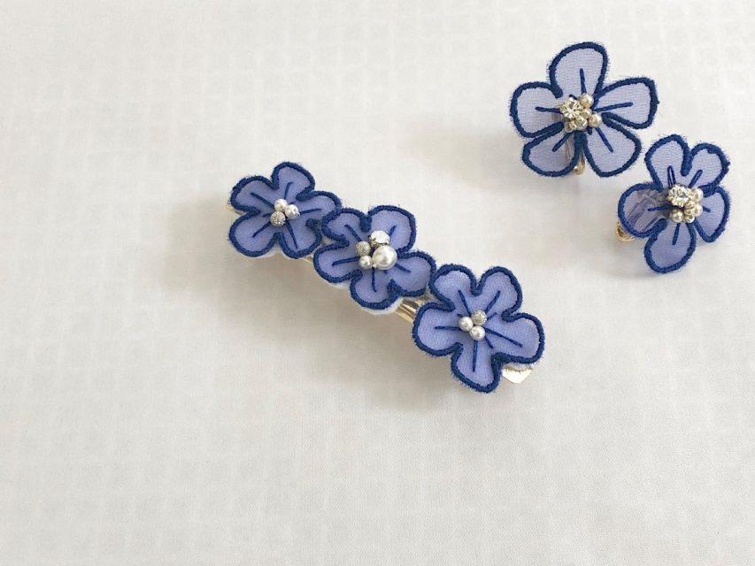[SOLD OUT] オーガンジー刺繍 フラワーバレッタ [BLUE]