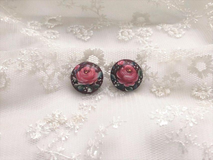 小さな薔薇の耳飾り[bordeaux]