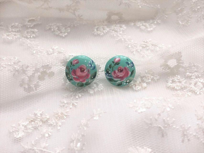 小さな薔薇の耳飾り[turquoise]